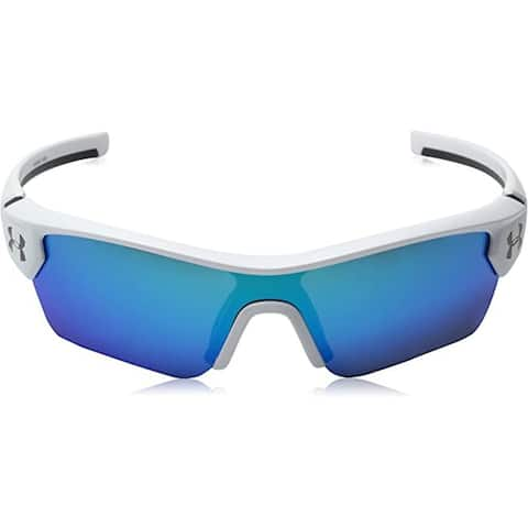 Under Armour Youth Menace Wrap Sunglasses - Satin White / Gray With Blue Mirror
