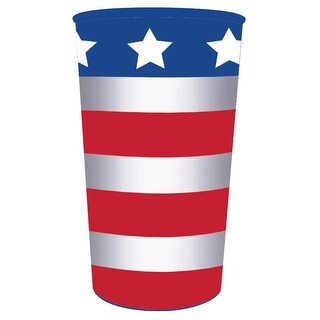 Club Pack of 20 Patriotic American Flag Red, White, and Bluel Drinking Party Souvenir Tumbler Cups 22 oz