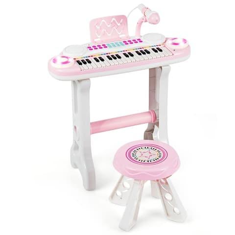 Costway 37-Key Kids Piano Keyboard Playset Electronic Organ Light BluePink