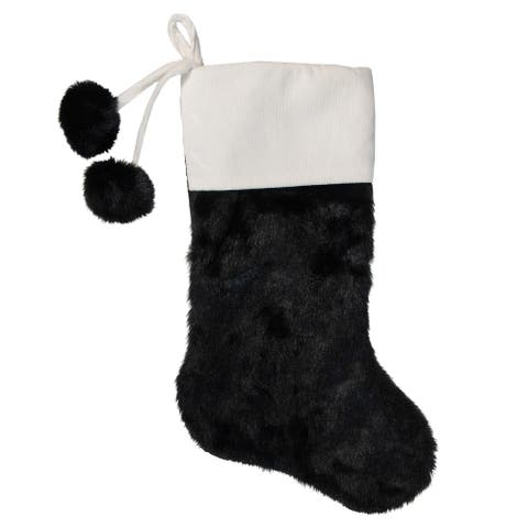 """20.5"""" Black and White Christmas Stocking with Corduroy Cuff"""