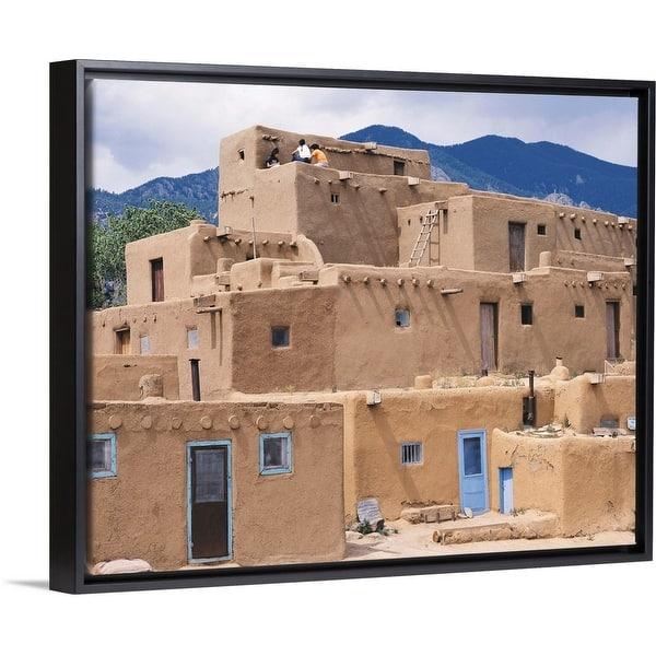 Adobe Village Rio Grande Black Float Frame Canvas Art Overstock 25520873
