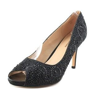 Lauren Lorraine Paula-2 Women Peep-Toe Synthetic Black Heels