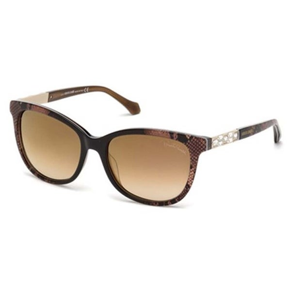 Shop Roberto Cavalli Eyewear Dark Brown Frame Brown Mirror ...