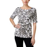 Karen Scott Womens Casual Top Knit Floral Print