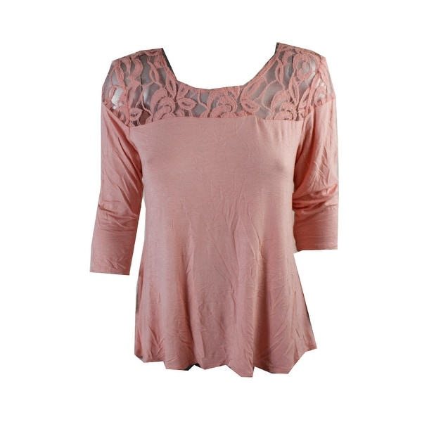 Ny Collection Pink 3/4-Sleeve Illusion Swing Top S