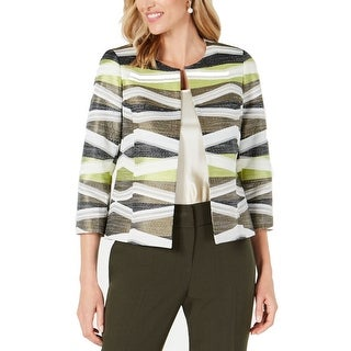 Link to Kasper Women's Jacket Green Size 4 Open Front Tweed Stripe Print Similar Items in Women's Outerwear