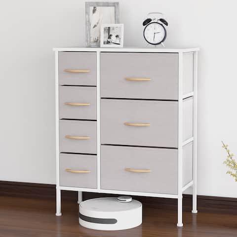 Bizroma 7-Drawer Light Grey Tall Fabric Dresser