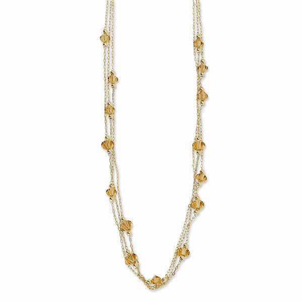 Goldtone Light Colorado Acrylic Beads Necklace - 16in