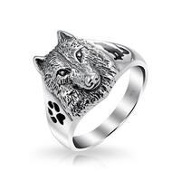 Bling Jewelry Sterling Silver Wolf Head Black Animal Paw Print Ring Enamel