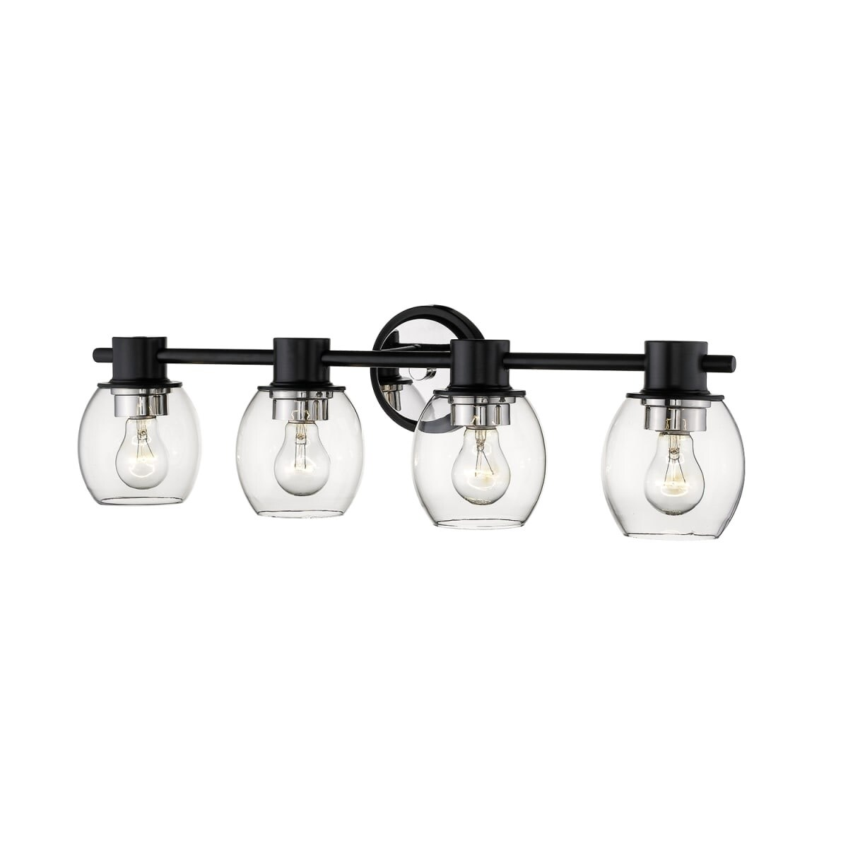 Millennium Lighting 3554 4 Light 32 Wide Bathroom Vanity Light Matte Black Polished Nickel Overstock 27382953