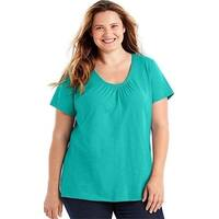 Just My Size 90563031672 Slub-Cotton Short-Sleeve Shirred V-Neck Womens Tee Shirt - H3 1X