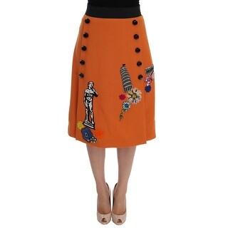 Dolce & Gabbana Dolce & Gabbana Orange Wool Crystal Sequin Appliques Skirt - it44-l