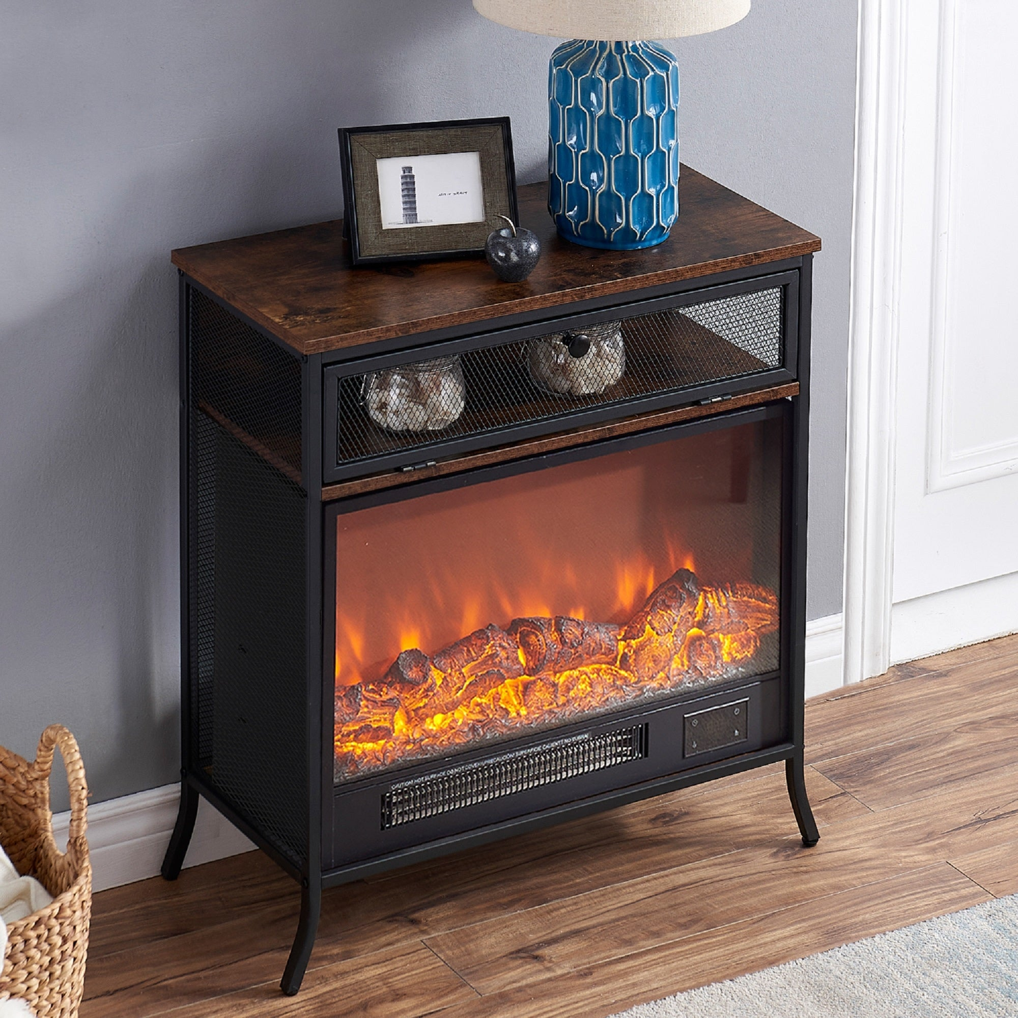 Vecelo Freestanding Fireplace Heater With Mantel Wood 36 12 30 Overstock 32313525
