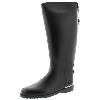 Qupid Womens Maine Rain Boots Knee-High Metallic Trim - 5 medium (b,m)