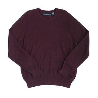 Perry Ellis NEW Purple Mens Size Large L V-Neck Longsleeve Sweater