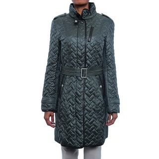 Cole Haan Women Quilted Zipper Trench Coat Trench Fat (Fatigue)