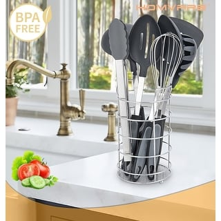 Homvare 8 Piece Aluminum Utensil Set Black with Silver Stand - Large