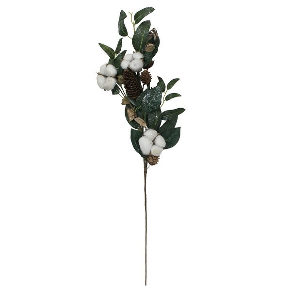 "27.25"" White Winter Cotton Flowers and Foliage Twig Pick - N/A"