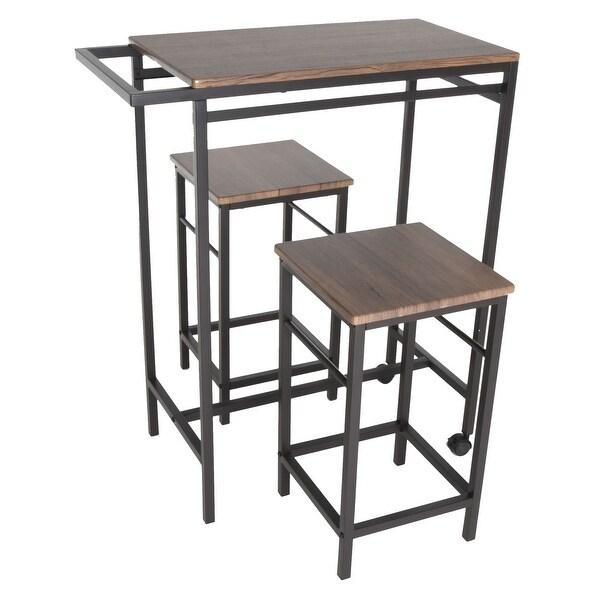 3 Piece Bar Table Set With 2 Stools Bistro Pub Kitchen: Shop Zenvida 3 Piece Pub Table Set Breakfast Cart With 2
