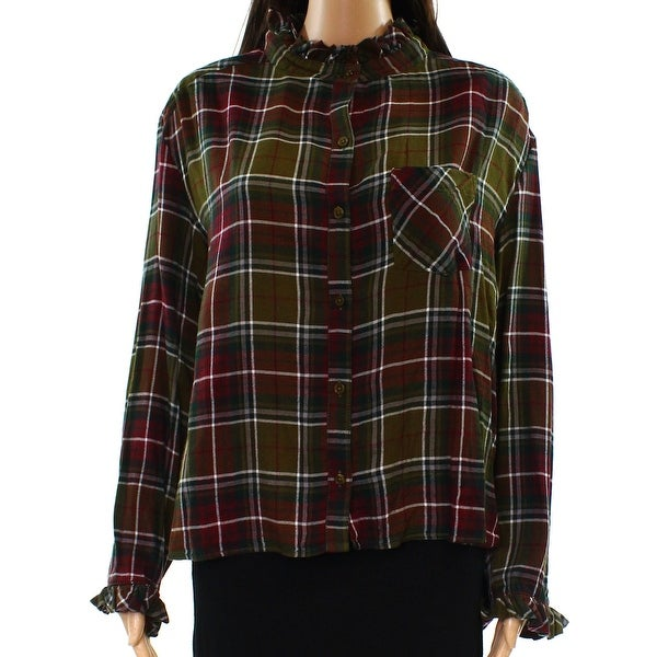 cb20c2e3 Shop Abound Green Red Women's Size XXS Button Down Plaid Ruffle Trim Top -  Free Shipping On Orders Over $45 - Overstock.com - 22397721