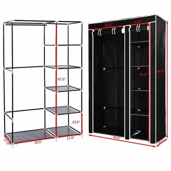 "69/"" Portable Closet Organizer Fabric Wardrobe Storage Organizer 13 Shelves Black"