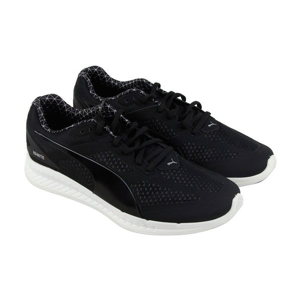 Puma Ignite Pwrwarm Mens Black Synthetic Athletic Lace Up Running Shoes