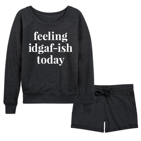 Feeling IDGAFish Today - Women's French Terry Shorts Set - Heather Charcoal