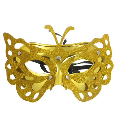 Unique Bargains Unique Bargains Women Glitter Powder Covered Halloween Eye Mask Gold Tone