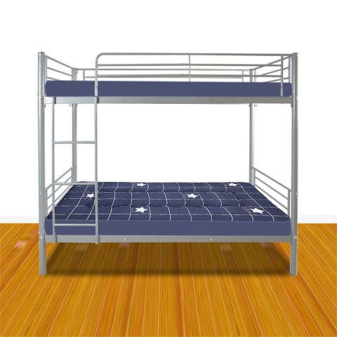Iron Bed Bunk Bed with Ladder for Kids Twin Size Gray