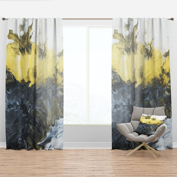 Designart 'Grey, Yellow and White Hand Painted Marble Composition' Mid-CenturyCurtain Panel. Opens flyout.