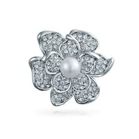 Bling Jewelry Crystal Rose Flower Mothers Love Pin Round Imitation White Pearl Rhodium Plated