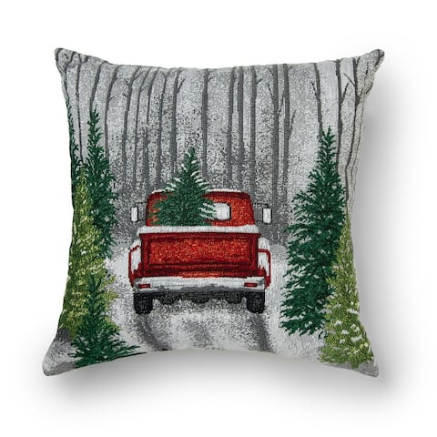 Sure Fit Home Decor Truck in Forest Decorative Throw Pillow