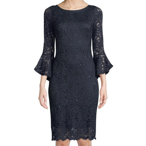 Tiana B. Blue Navy Floral Lace Sequin Bell Sleeve 6 Sheath Dress