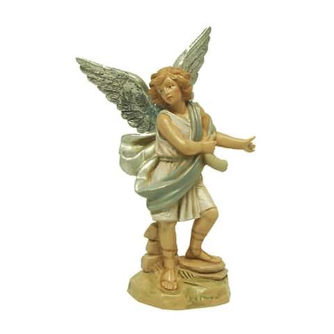 "5.75"" Green and Cream White Raphael Angel Nativity Figurine"