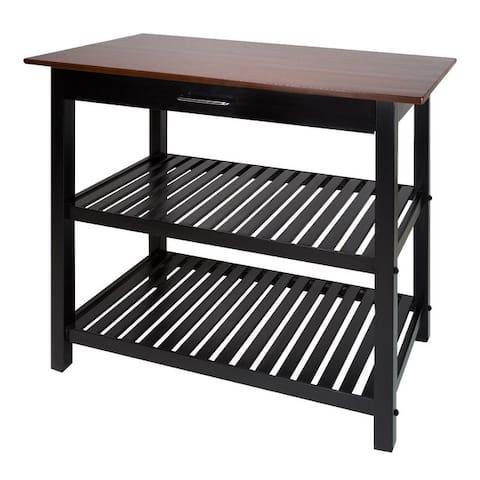 2-shelf Natural Solid Wood Top Kitchen Island - N/A
