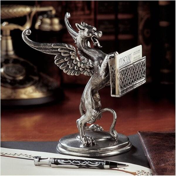 Design Toscano Gryphon Solid Pewter Card Holder