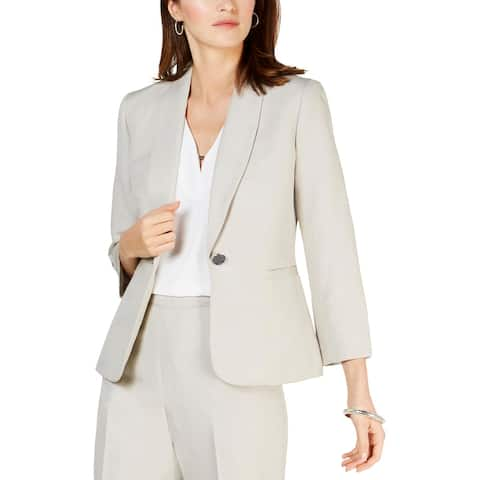 Kasper Womens Blazer One Button Office - Pebble