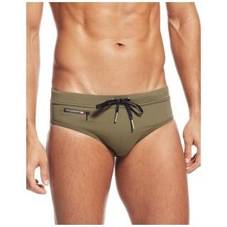 Diesel Mens Petersy Swim Hip Briefs Medium M Green With Zipper Pocket