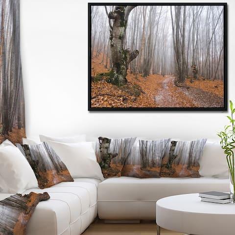 Designart 'Road Covered by Fallen Leaves' Modern Forest Framed Canvas Art