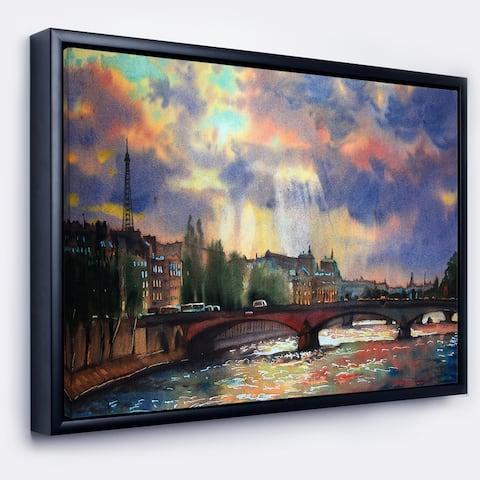 Designart 'Fabulous Paris City Watercolor' Large Photography Framed Canvas Art