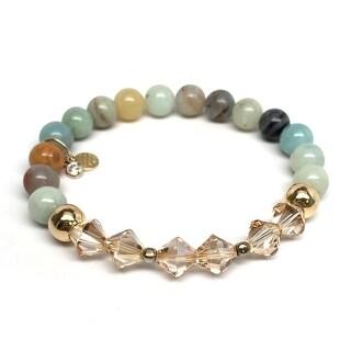 """Green Amazonite & Crystal Chloe 7"""" Bracelet"""