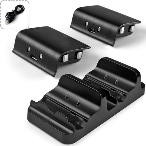 AGPtek Dual Charging Station Dock Stand + 2 Battery For Xbox One Wireless Controller