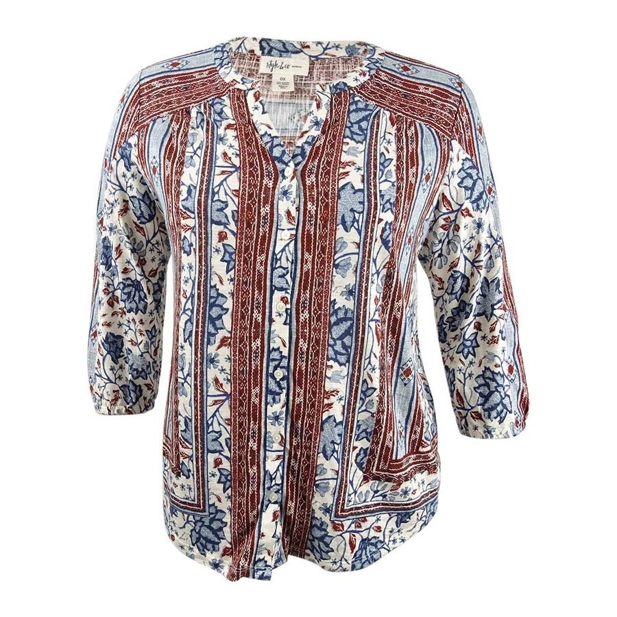 Style & Co. Womens Plus Size Mixed-Print Peasant Top - Ivory Batik