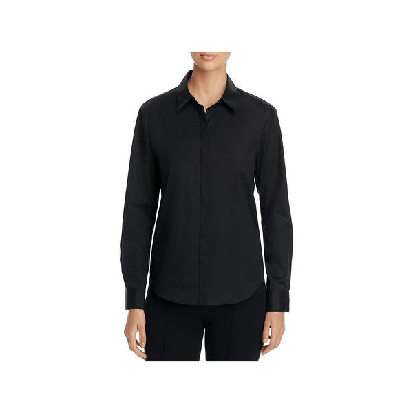 84cd2df8794 Shop DKNY Womens Button-Down Top Long Sleeve Collared - Free ...