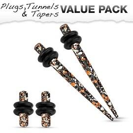 Orange & Black Splatter IP 316L Steel Plug & Taper with O-Ring Set Value Pack