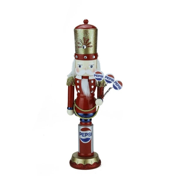 """12"""" Decorative Red, Blue and White Wooden """"Pepsi"""" Christmas Nutcracker"""
