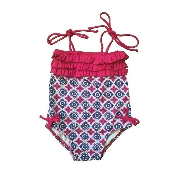 Baby Girls Navy Motif California Pattern Ruffle Detail One Piece Swimsuit - 24 months