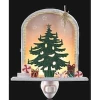 """6.5"""" Sparkling Christmas Tree with Gifts and Bethlehem Star Night Light"""