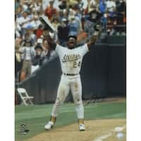 Rickey Henderson Autographed Oakland Athletics 16x20 Photo Arms Up JSA