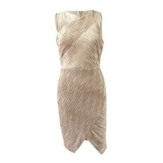 JAX Women's Metallic Stripe Crisscross Halter Dress - Champagne